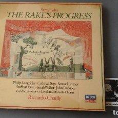 Discos de vinilo: IGOR STRAVINSKY ?– THE RAKE'S PROGRESS CAJA 3 LPS DECCA ?– 411 644-1. Lote 171188868