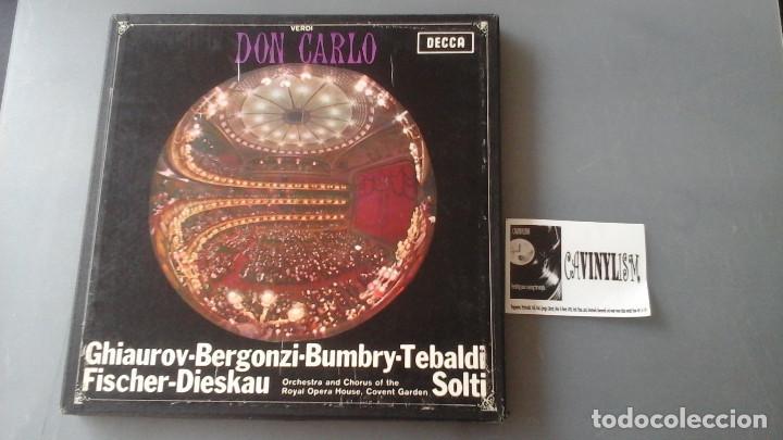 VERDI - SOLTI - DON CARLO - CAJA CON 4 LPS DECCA ?– SET 305/08 (Música - Discos de Vinilo - EPs - Clásica, Ópera, Zarzuela y Marchas)