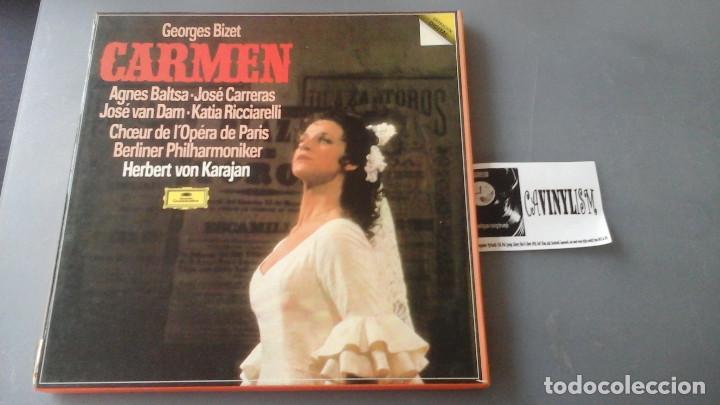 BIZET - KARAJAN - CARMEN CAJA CON 3 LPS DEUTSCHE GRAMMOPHON 2741 025 (Música - Discos de Vinilo - EPs - Clásica, Ópera, Zarzuela y Marchas)