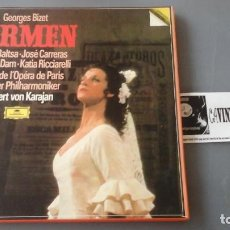 Discos de vinilo: BIZET - KARAJAN - CARMEN CAJA CON 3 LPS DEUTSCHE GRAMMOPHON 2741 025. Lote 171189053