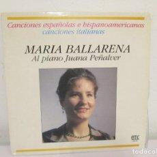 Discos de vinilo: MARIA BALLARENA. AL PIANO JUANA PEÑALVER. CANCIONES ESPAÑOLAS E HISPANOAMERICANAS. LP VINILO. Lote 171244220
