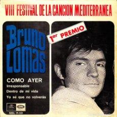 Discos de vinilo: BRUNO LOMAS - COMO AYER + IRRESPONSABLE + DENTRO DE MI VIDA + YO SE QUE NO VOLVERAS EP FIRMADO 1966. Lote 171279277