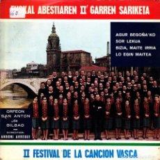 Discos de vinilo: ORFEON SAN ANTON DE BILBAO - AGUR BEGOÑAKO + SOR LEKUA.. FESTIVAL CANCION VASCA DOBLE SINGLE 1966. Lote 171279709