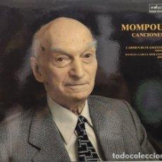 Discos de vinilo: FEDERICO MOMPOU - CANCIONES INTERPRETADAS POR CARMEN BUSTAMANTE - PIANO MANUEL GARCIA MORENTE - LP #. Lote 171446599