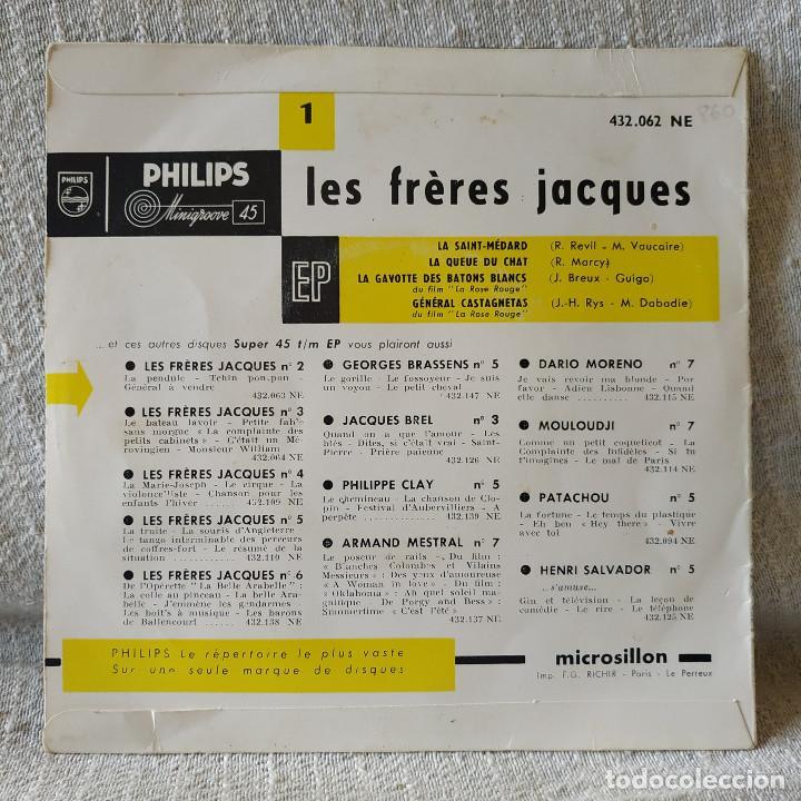 Discos de vinilo: Les Fréres Jacques - La Saint-Médard + 3 - EP Philips del año 1956 en excelente estado - Foto 2 - 171490348