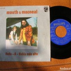 Discos de vinilo: DISCO DE MOUTH MACNEAL ,HELLO -A. HABLA MAS ALTO. Lote 171522130