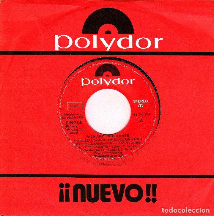 RICHARD COCCIANTE - HISTORIAS AMOR, AMOR CARIÑO MIO SINGLE PROMO SIN PORTADA PROMO 1978 (Música - Discos - Singles Vinilo - Canción Francesa e Italiana)