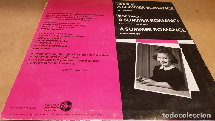 Discos de vinilo: JULIA CLAIRE / A SUMMER ROMANCE / MAXI SG - LEIBER RECORDS-1987 / MBC. ***/*** - Foto 2 - 171629779