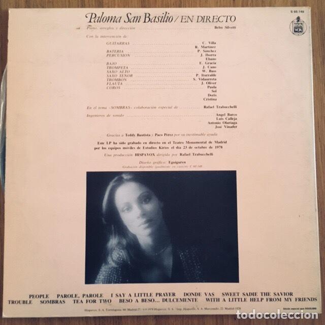 Discos de vinilo: PALOMA SAN BASILIO LP EN DIRECTO PORTADA GATEFOLD DISCO EXCELENTE - Foto 3 - 171664880