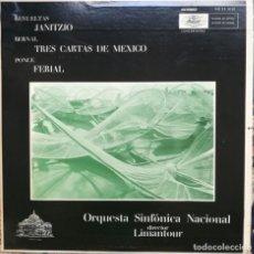 Discos de vinilo: REVUELTAS,BERNAL Y PONCE.3 COMPOSITORES MEXICANOS. ORQUESTA SINFÓNICA DE MÉXICO. Lote 171689519