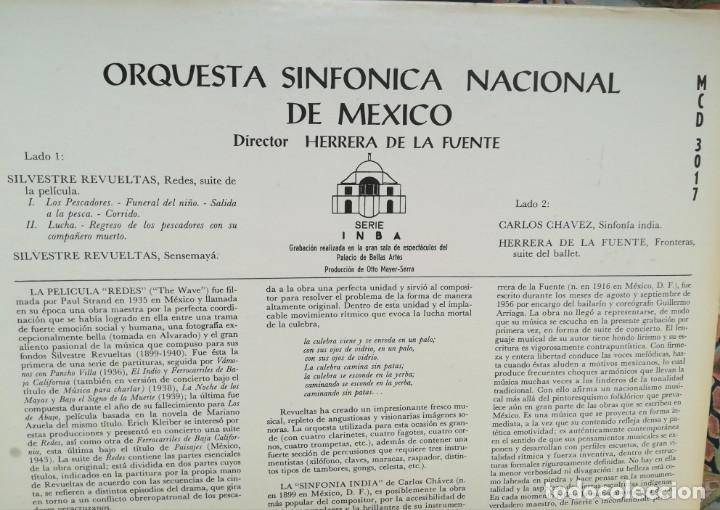 Discos de vinilo: Revueltas,Chávez y Herrera de la Fuente. Tres compositores mexicanos. Orquesta sinfónica de México - Foto 2 - 171690602