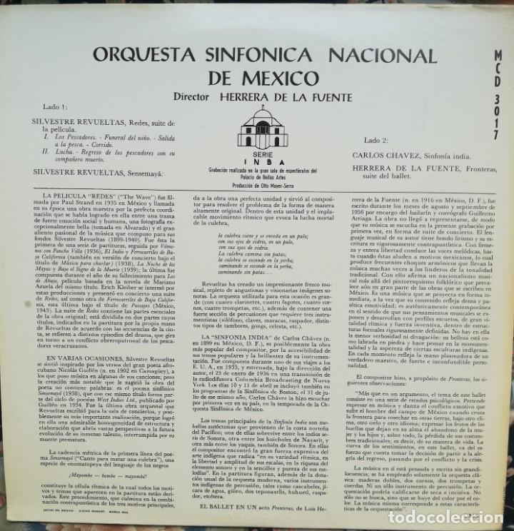 Discos de vinilo: Revueltas,Chávez y Herrera de la Fuente. Tres compositores mexicanos. Orquesta sinfónica de México - Foto 3 - 171690602