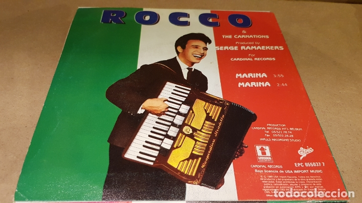 Discos de vinilo: ROCCO & THE CARNATIONS / MARINA / SG - EPIC-1989 / DE LUJO. ****/**** - Foto 2 - 171703030
