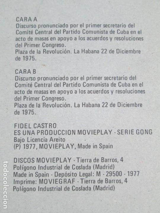 Discos de vinilo: NUESTRA PALABRA VOL 3. DISCURSO EN LA PALZA DE LA REVOLUCION 22 DIC 75. FIDEL CASTRO. LP VINILO - Foto 7 - 171805424