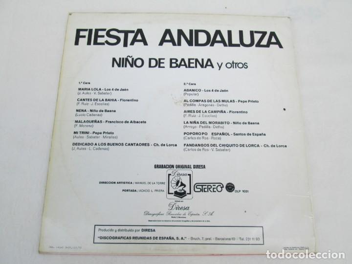 Discos de vinilo: FIESTA ANDLUZA. NIÑO DE BAENA Y OTROS. LP VINILO. DIRESA 1973. VER FOTOGRAFIAS ADJUNTAS - Foto 8 - 171818405