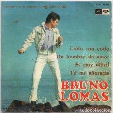 Discos de vinilo: BRUNO LOMAS -CODO CON CODO (REGAL, SEDL 19.543 7'', EP, 1967( BANDA SONORA. Lote 171828099