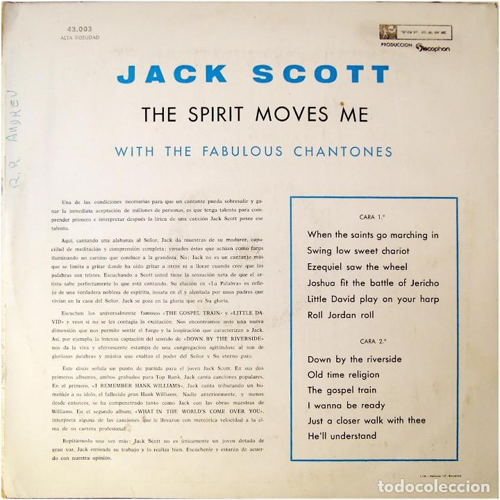 Discos de vinilo: Jack Scott With The Fabulous Chantones – The Spirit Moves Me - Lp Spain 1961 - Discophon 43.003 - Foto 2 - 171890208