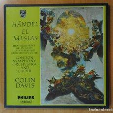 Discos de vinilo: HANDEL / COLIN DAVIS - EL MESIAS - CONTIENE LIBRETO - BOX 3 LP. Lote 171897660