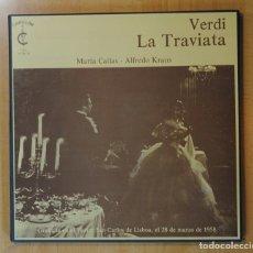 Discos de vinilo: VERDI / MARIA CALLAS / ALFREDO KRAUS - LA TRAVIATA - CONTIENE LIBRETO - BOX 3 LP. Lote 171898809
