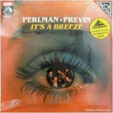 Discos de vinilo: ITZHAK PERLMAN,A. PREVIN,S. MANNE,J. HALL,R. MITCHELL - IT'S A BREEZE - LP SPAIN 1982 - PRECINTADO. Lote 171956103