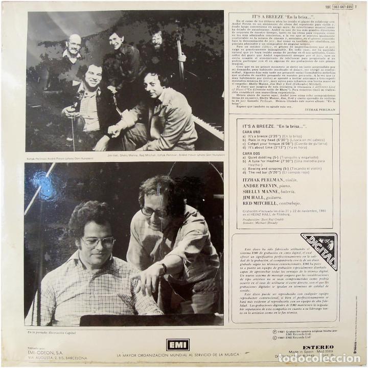 Discos de vinilo: Itzhak Perlman,A. Previn,S. Manne,J. Hall,R. Mitchell - Its A Breeze - Lp Spain 1982 - Precintado - Foto 2 - 171956103