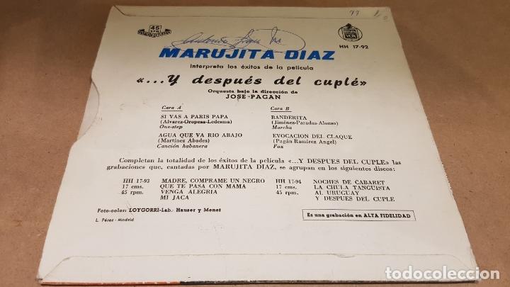 Discos de vinilo: MARUJITA DIAZ / ...Y DESPUÉS DEL CUPLÉ / EP - HISPAVOX-1959 / MBC. ***/*** - Foto 2 - 172046565