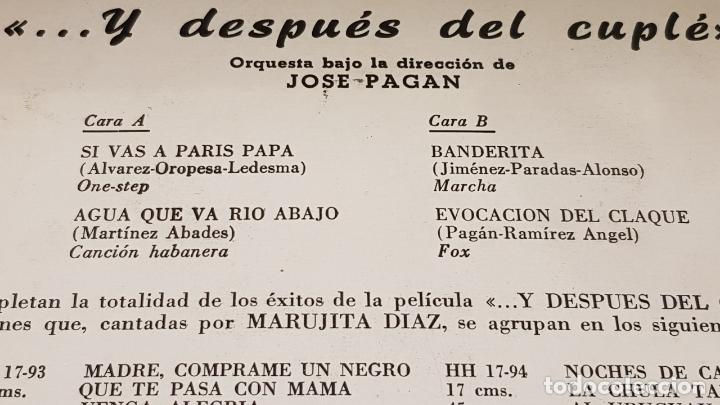 Discos de vinilo: MARUJITA DIAZ / ...Y DESPUÉS DEL CUPLÉ / EP - HISPAVOX-1959 / MBC. ***/*** - Foto 3 - 172046565