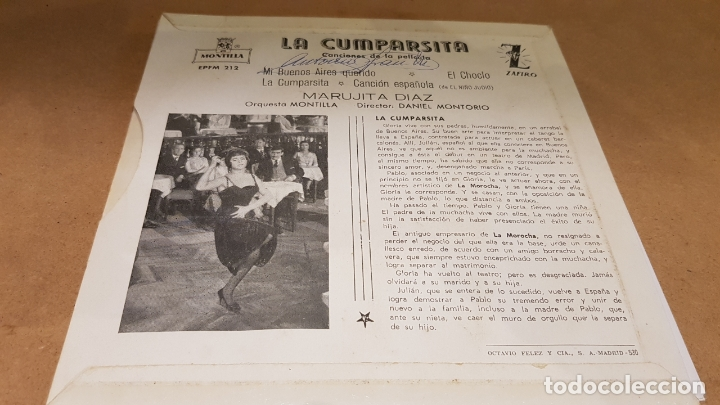 Discos de vinilo: MARUJITA DIAZ / LA CUMPARSITA / EP - ZAFIRO-MONTILLA-1961 / MBC. ***/*** - Foto 2 - 172046669
