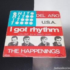 Discos de vinilo: THE HAPPENINGS -- I GOR RHYTHM / YOU´RE IN A BAD WAY ----- ORIGINAL AÑO 1967----VG +. Lote 172092009
