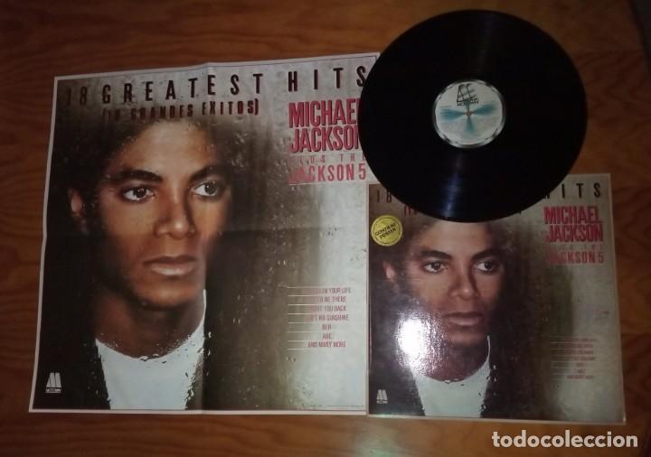 DISCO LP MÁS PÓSTERS ORIGINAL DEL ÁLBUM MICHAEL JACKSON 18 GRANDES ÉXITOS. (Música - Discos - LP Vinilo - Pop - Rock - Extranjero de los 70)