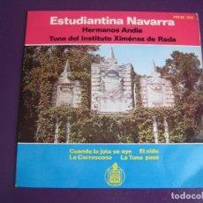 Discos de vinilo: ESTUDIANTINA NAVARRA - HERMANOS ANDIA - TUNA INSTITUTO XIMENEZ DE RADA EP 1964 - JOTA PAMPLONA . Lote 172205249