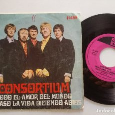 Discos de vinilo: CONSORTIUM - ALL BE LOVE IN THE WORLD +1 - SG HISPAVOX PYE 1969 // UK POPSIKE SUNSHINE POP. Lote 172213310