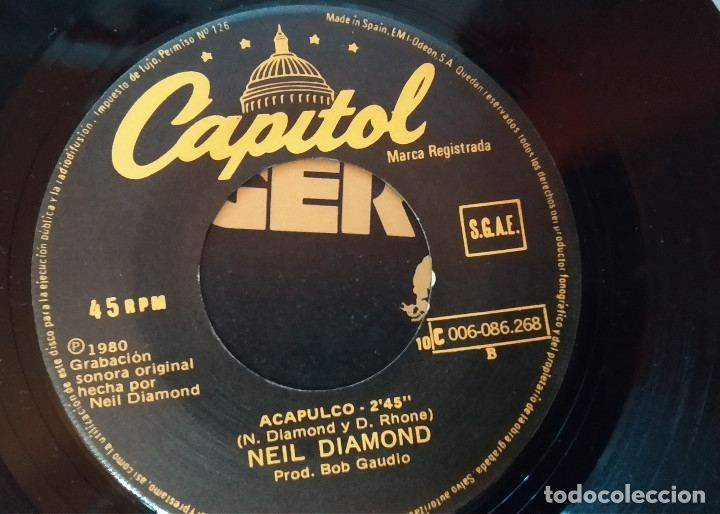Single Neil Diamond Love On The Rocks Acapulco Sold Through Direct Sale 172292618