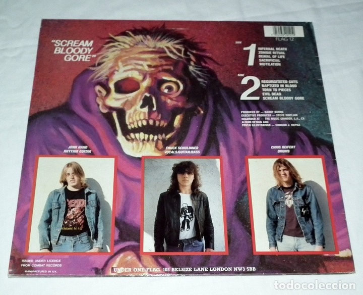 Discos de vinilo: LP DEATH - SCREAM BLOODY GORE - Foto 2 - 172297419