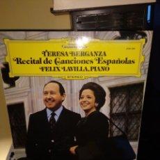 Discos de vinilo: TERESA BERGANZA, RECITAL DE CANCIONES ESPAÑOLAS DG 1976. Lote 172313382