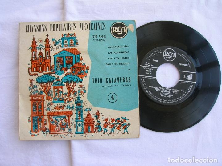 DISCO DEL TRIO CALAVERAS CANCIONES POPULARES MEXICANAS (Música - Discos de Vinilo - EPs - Étnicas y Músicas del Mundo)