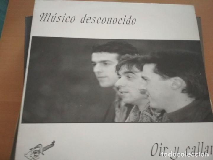 MUSICO DESCONOCIDO OIR Y CALLAR LP PROMO HOJA (Música - Discos - LP Vinilo - Grupos Españoles de los 70 y 80)