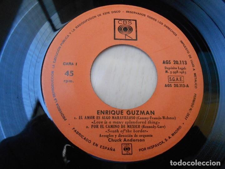 Discos de vinilo: ENRIQUE GUZMAN, EP, EL AMOR ES ALGO MARAVILLOSO + 3, AÑO 1963 - Foto 3 - 172462500