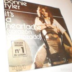 Discos de vinilo: SINGLE BONNIE TYLER. IT'S A HEARTACHE..GOT SO USEDTO LOVIN' YOU. RCA 1977 SPAIN (PROBADO Y BIEN). Lote 172584303