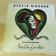 Discos de vinilo: STEVIE WONDER, SG, KEEP OUR LOVE ALIVE + 1, AÑO 1990. Lote 172604430
