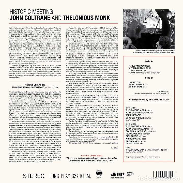Discos de vinilo: John Coltrane And Thelonious Monk * LP Deluxe 180g * Historic Meeting * Precintado - Foto 5 - 172647257