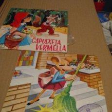 Discos de vinilo: 2 CUENTO DISCOS : CAPUTXETA VERMELLA + LA RATETA QUE ESCOMBRAVA L'ESCALETA. Lote 172653830