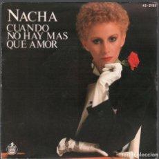 Discos de vinilo: NACHA GUEVARA, CUANDO NO HAY MAS QUE AMOR - SINGLE HISPAVOX DE 1981 RF-3969 , BUEN ESTADO. Lote 172664288