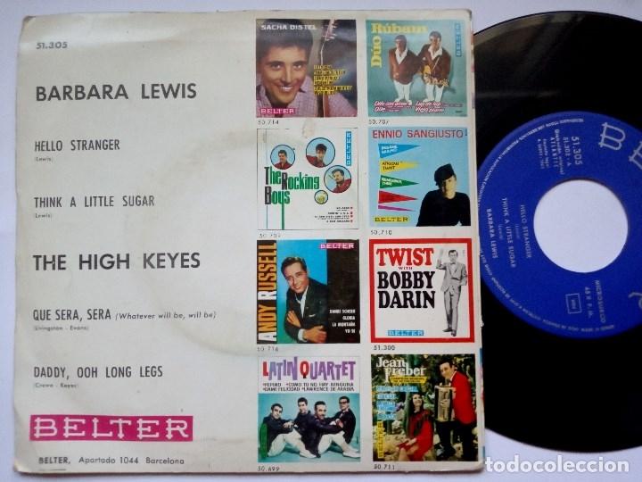 Discos de vinilo: BARBARA LEWIS - hello stranger / think + HIGH KEYS que sera / daddy - EP 1963 - BELTER - Foto 2 - 172763134