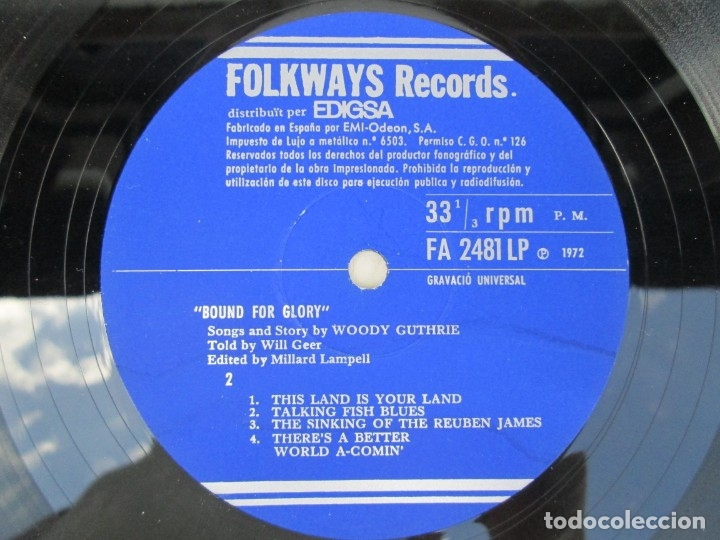 Discos de vinilo: BOUND FOR GLORY. THE SONGS AND STORY OF WOODY GUTHRIE. LP VINILO. FOLKAYS RECORDS 1958 - Foto 6 - 172773260
