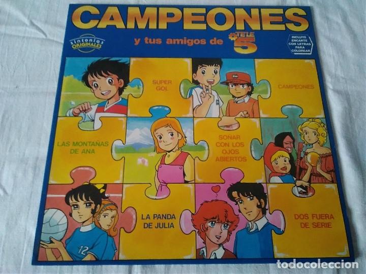 34-LP CAMPEONES Y TUS AMIGOS DE TELE5, 1990 (Música - Discos de Vinilo - EPs - Música Infantil)