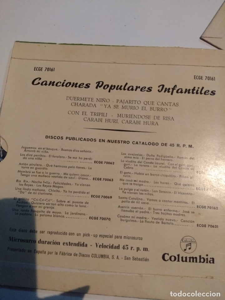 Discos de vinilo: 3 EP DE CANCIONES POPULARES INFANTILES : CARABI HURI, PIPIRIGAÑA, MARIQUITA, PIRULITA, UNI DOLI ETC - Foto 6 - 172816843
