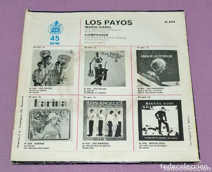 Discos de vinilo: Single de Los Payos. María Isabel. Compasión - Foto 2 - 172920409