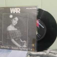 Discos de vinilo: WAR HEY SEÑORITA SINGLE SPAIN 1978 PDELUXE. Lote 172943897