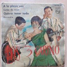 Discos de vinilo: LOS 3 CARINOS- A LA PLAYA VAS +3- EP PHILIPS 1963. Lote 172995900